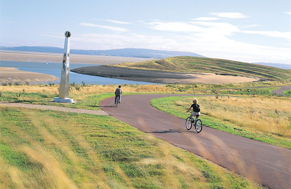 People cycling on the path