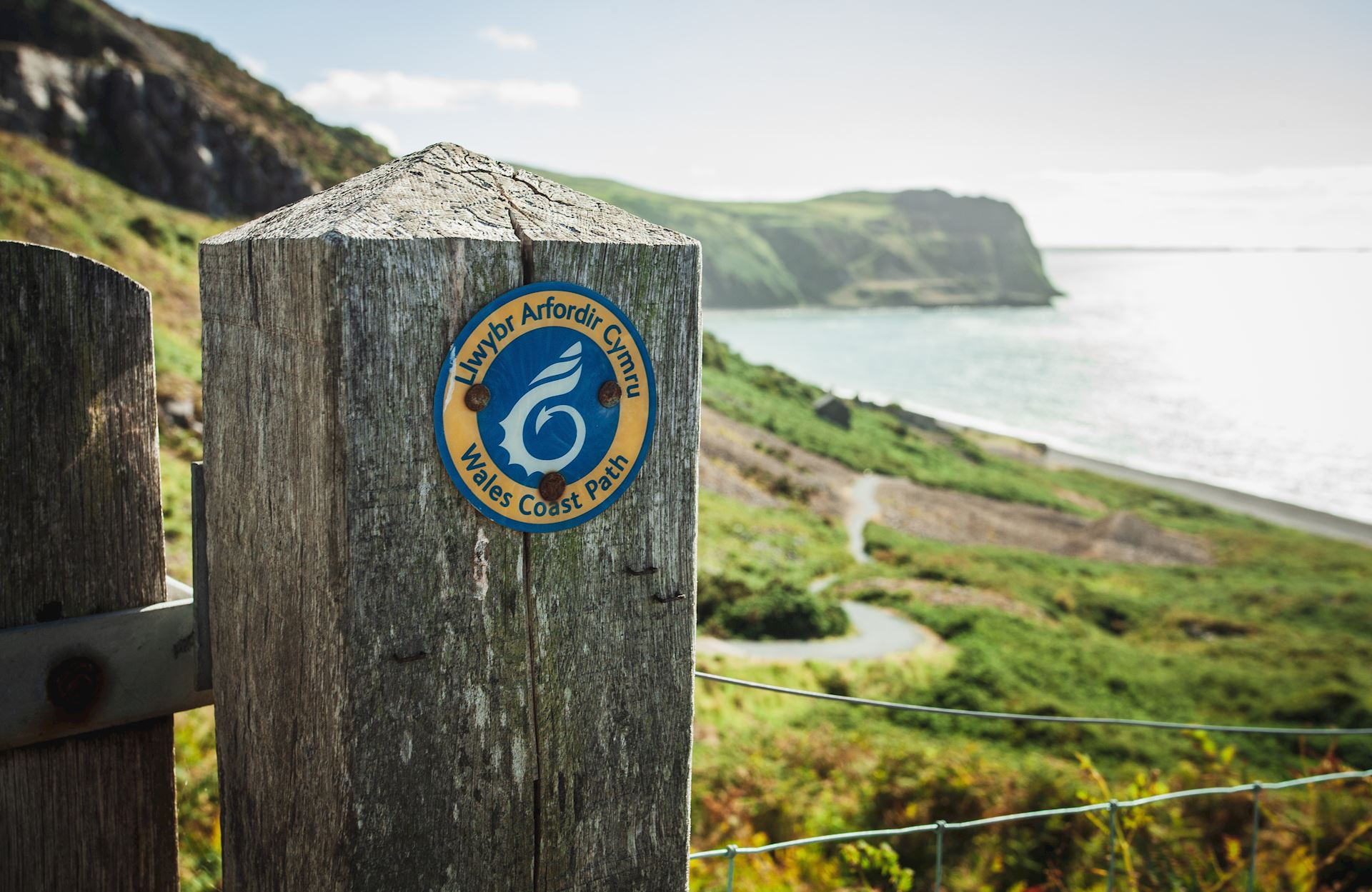 Wales Coast Path waymarker at Nant Gwrtheyrn