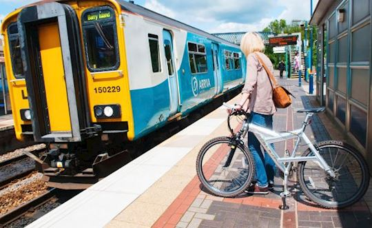 person next to a train with bike