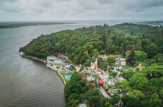 Aerial view of Portmeirion Italianate style village
