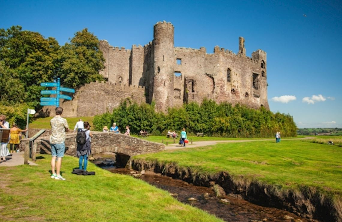 People visting Laugharne Castle