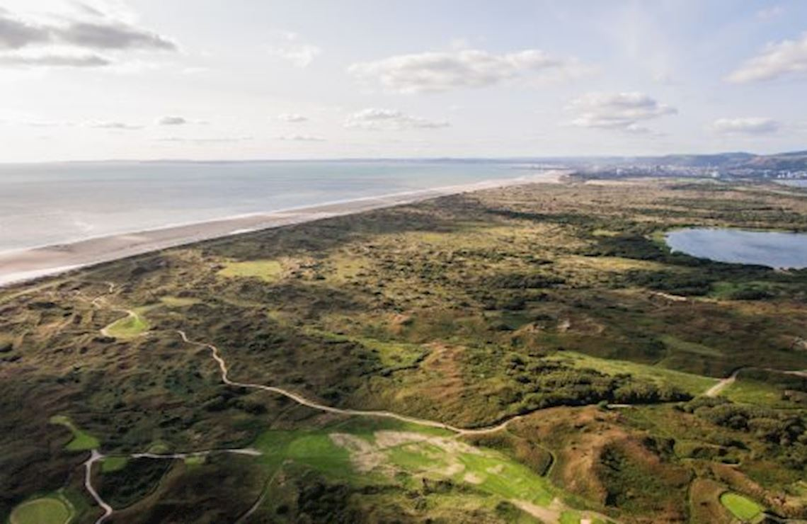 Aerial view of Kenfig National Nature Reserve