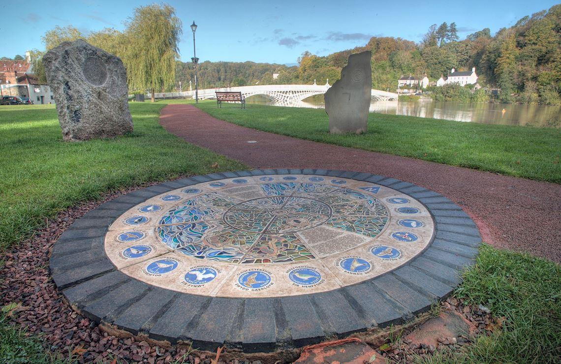 Plaque to commemorate the start and finish of the path in Chepstow