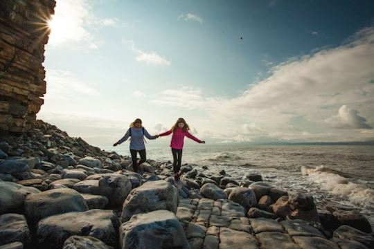 Two girls at Llanwit Major beach